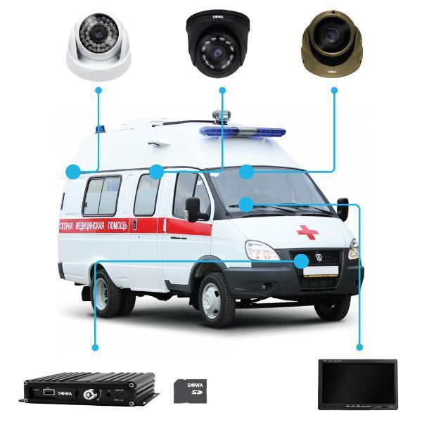 Комплект видеонаблюдения для автомобиля скорой помощи купить в Чите